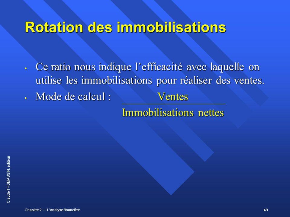 Chapitre 2 Lanalyse financière49 Claude THOMASSIN, éditeur Rotation des immobilisations Ce ratio nous indique lefficacité avec laquelle on utilise les