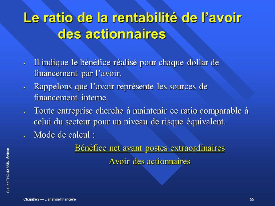 Chapitre 2 Lanalyse financière55 Claude THOMASSIN, éditeur Le ratio de la rentabilité de lavoir des actionnaires Il indique le bénéfice réalisé pour c
