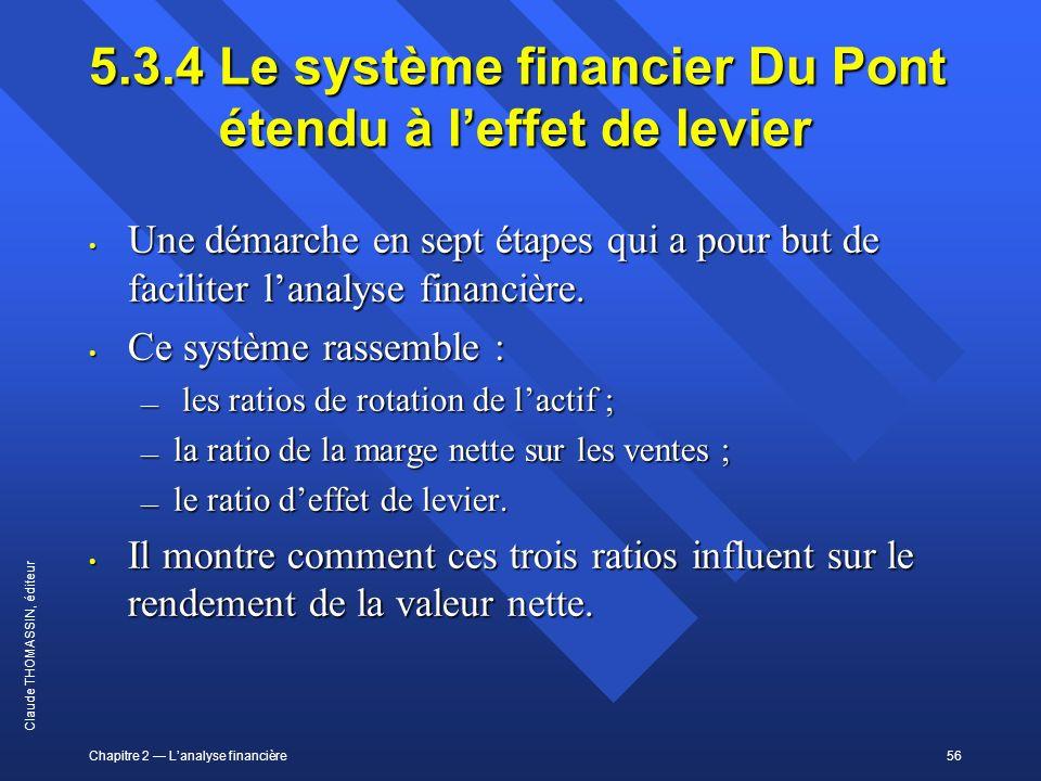 Chapitre 2 Lanalyse financière56 Claude THOMASSIN, éditeur 5.3.4 Le système financier Du Pont étendu à leffet de levier Une démarche en sept étapes qu