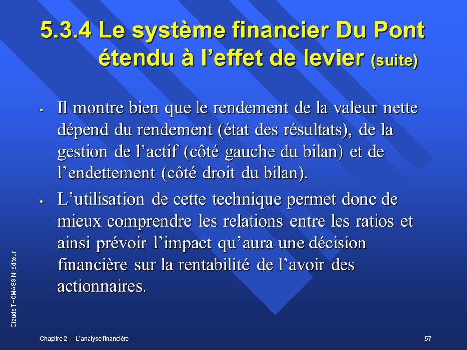 Chapitre 2 Lanalyse financière57 Claude THOMASSIN, éditeur 5.3.4 Le système financier Du Pont étendu à leffet de levier (suite) Il montre bien que le
