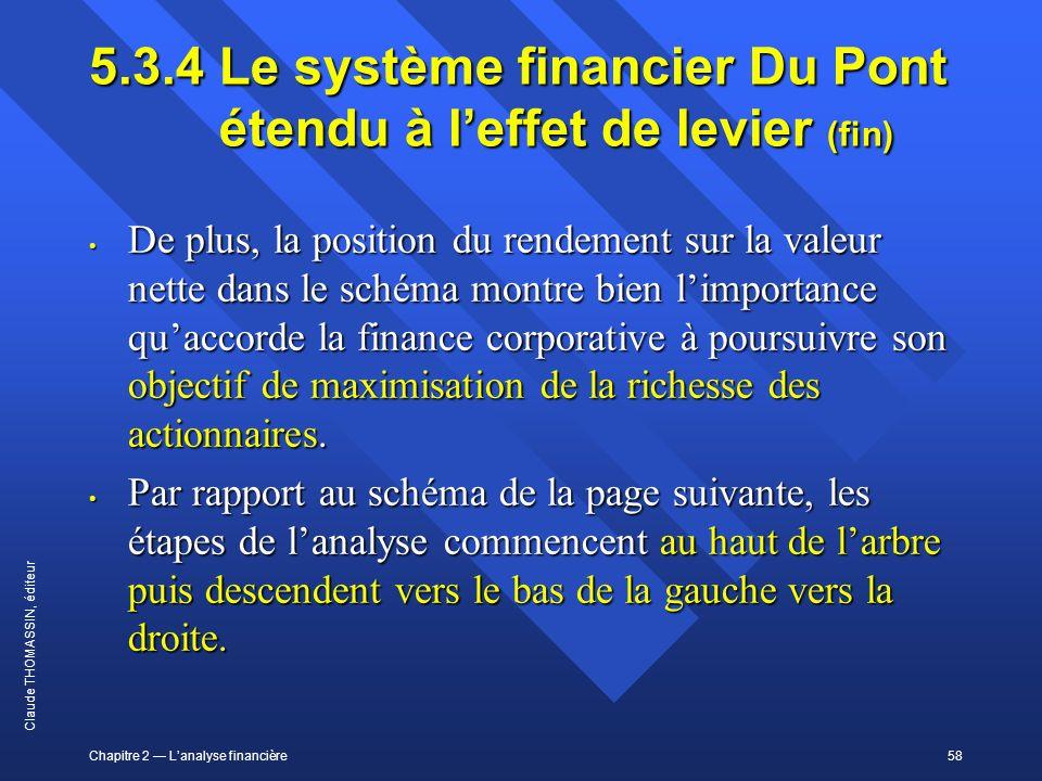 Chapitre 2 Lanalyse financière58 Claude THOMASSIN, éditeur 5.3.4 Le système financier Du Pont étendu à leffet de levier (fin) De plus, la position du