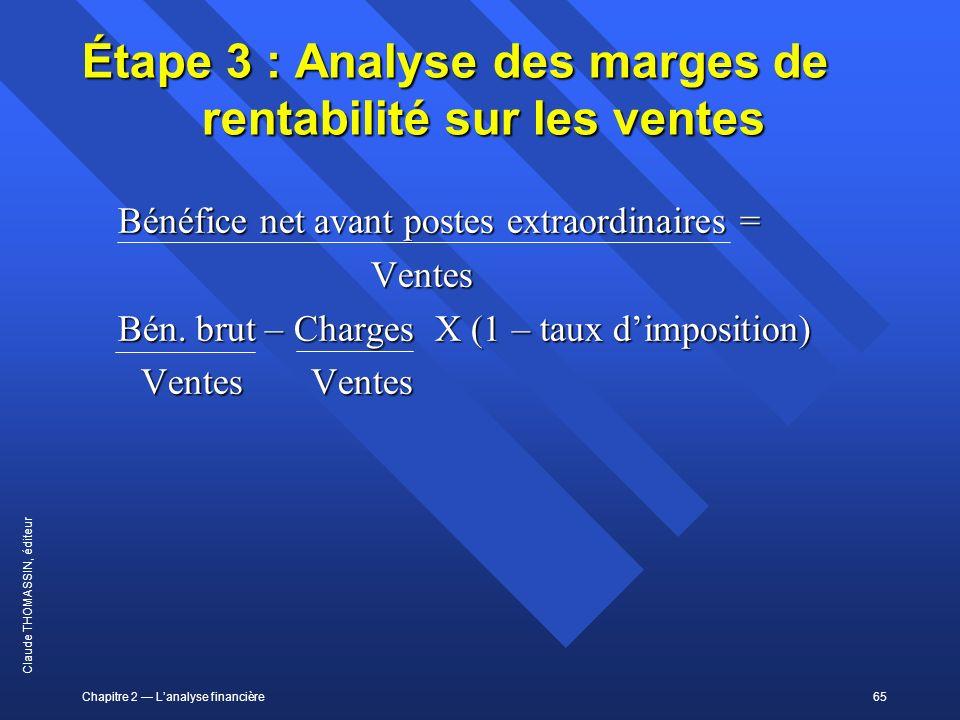 Chapitre 2 Lanalyse financière65 Claude THOMASSIN, éditeur Étape 3 : Analyse des marges de rentabilité sur les ventes Bénéfice net avant postes extrao