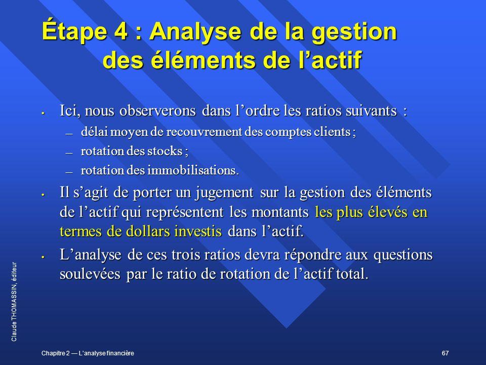 Chapitre 2 Lanalyse financière67 Claude THOMASSIN, éditeur Étape 4 : Analyse de la gestion des éléments de lactif Ici, nous observerons dans lordre le