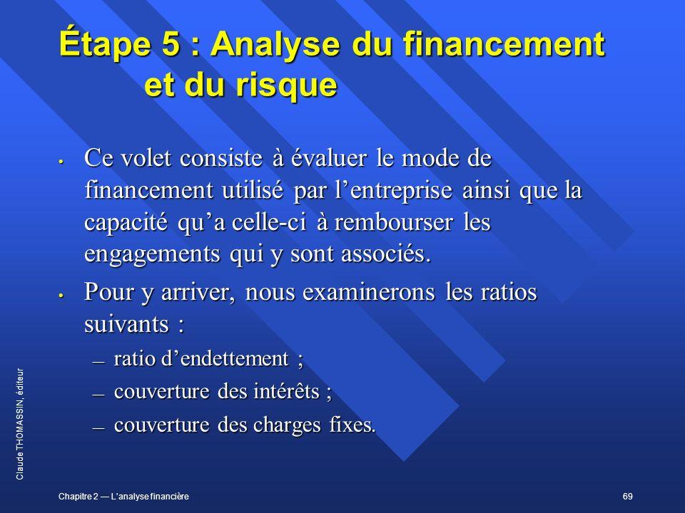 Chapitre 2 Lanalyse financière69 Claude THOMASSIN, éditeur Étape 5 : Analyse du financement et du risque Ce volet consiste à évaluer le mode de financ