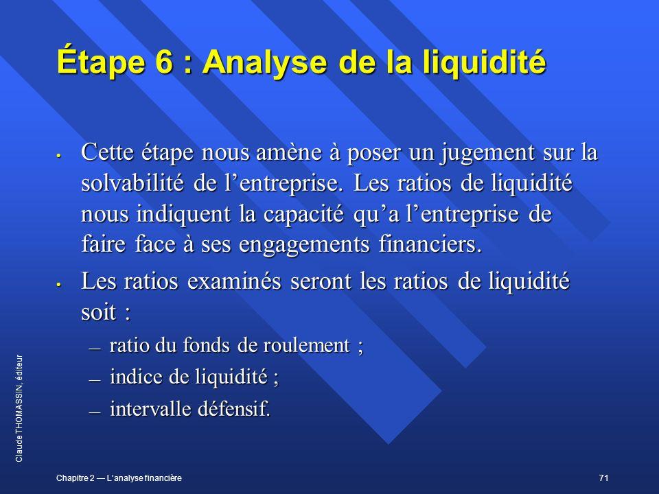 Chapitre 2 Lanalyse financière71 Claude THOMASSIN, éditeur Étape 6 : Analyse de la liquidité Cette étape nous amène à poser un jugement sur la solvabi