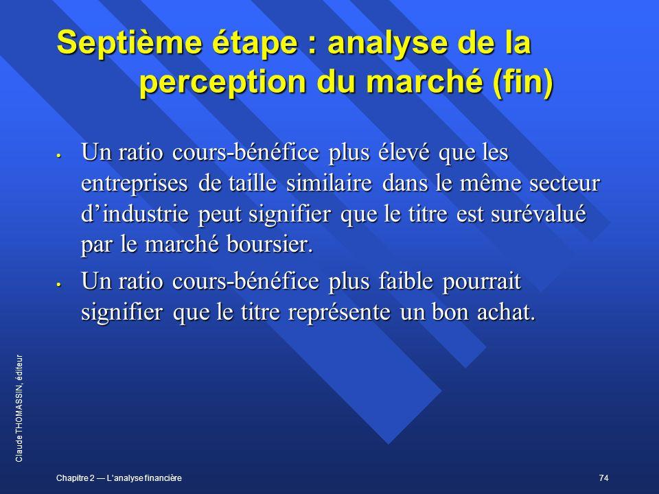 Chapitre 2 Lanalyse financière74 Claude THOMASSIN, éditeur Septième étape : analyse de la perception du marché (fin) Un ratio cours-bénéfice plus élev