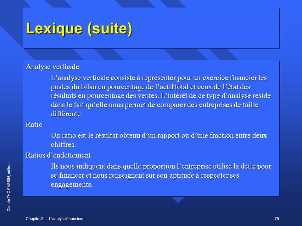 Chapitre 2 Lanalyse financière79 Claude THOMASSIN, éditeur Lexique (suite) Analyse verticale Lanalyse verticale consiste à représenter pour un exercic