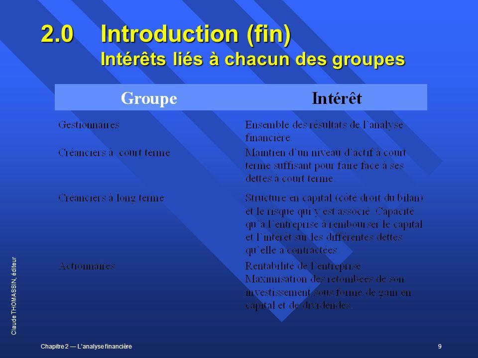 Chapitre 2 Lanalyse financière9 Claude THOMASSIN, éditeur 2.0 Introduction (fin) Intérêts liés à chacun des groupes