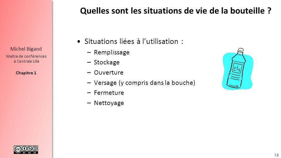 Chapitre 1 Michel Bigand Maître de conférences à Centrale Lille Quelles sont les situations de vie de la bouteille ? Situations liées à lutilisation :
