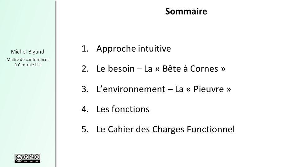 Michel Bigand Maître de conférences à Centrale Lille Sommaire 1.Approche intuitive 2.Le besoin – La « Bête à Cornes » 3.Lenvironnement – La « Pieuvre