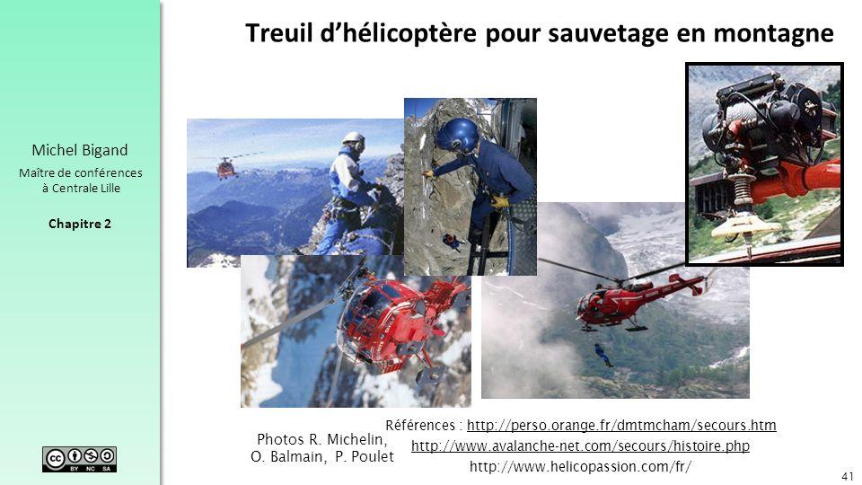 Chapitre 2 Michel Bigand Maître de conférences à Centrale Lille Treuil dhélicoptère pour sauvetage en montagne 41 Photos R. Michelin, O. Balmain, P. P