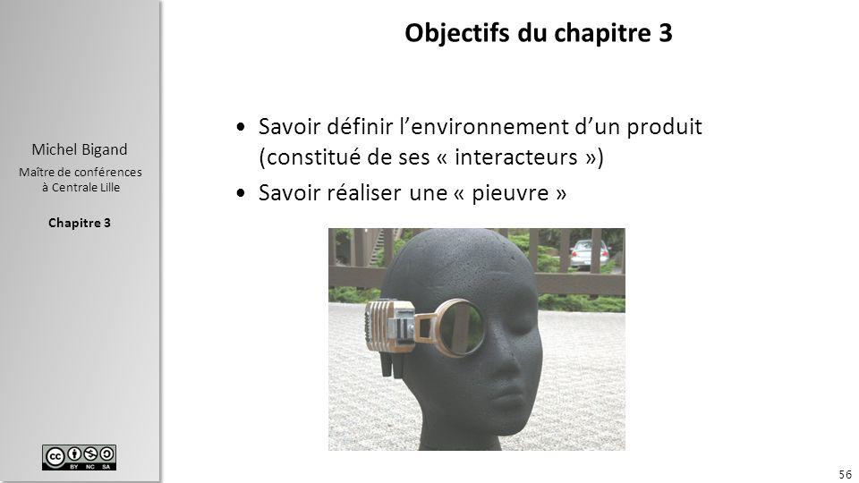 Chapitre 3 Michel Bigand Maître de conférences à Centrale Lille Objectifs du chapitre 3 Savoir définir lenvironnement dun produit (constitué de ses «