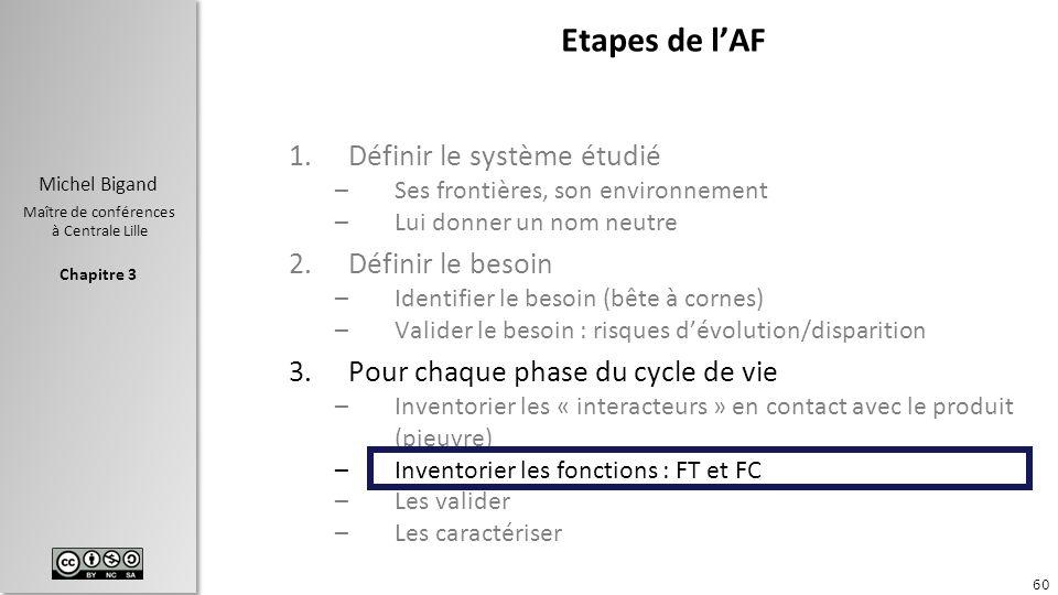 Chapitre 3 Michel Bigand Maître de conférences à Centrale Lille Etapes de lAF 1.Définir le système étudié –Ses frontières, son environnement –Lui donn