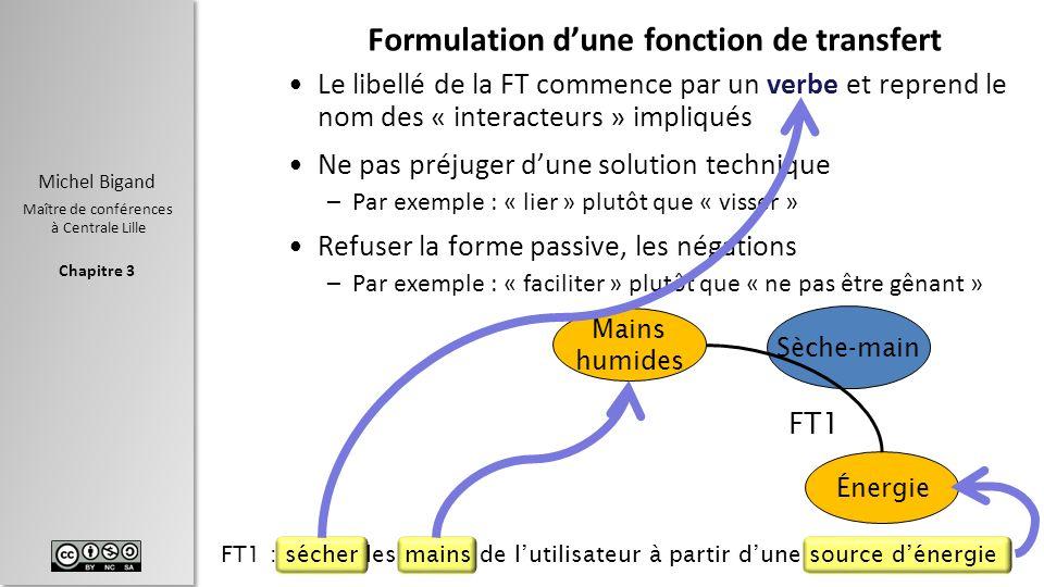 Chapitre 3 Michel Bigand Maître de conférences à Centrale Lille Formulation dune fonction de transfert Le libellé de la FT commence par un verbe et re