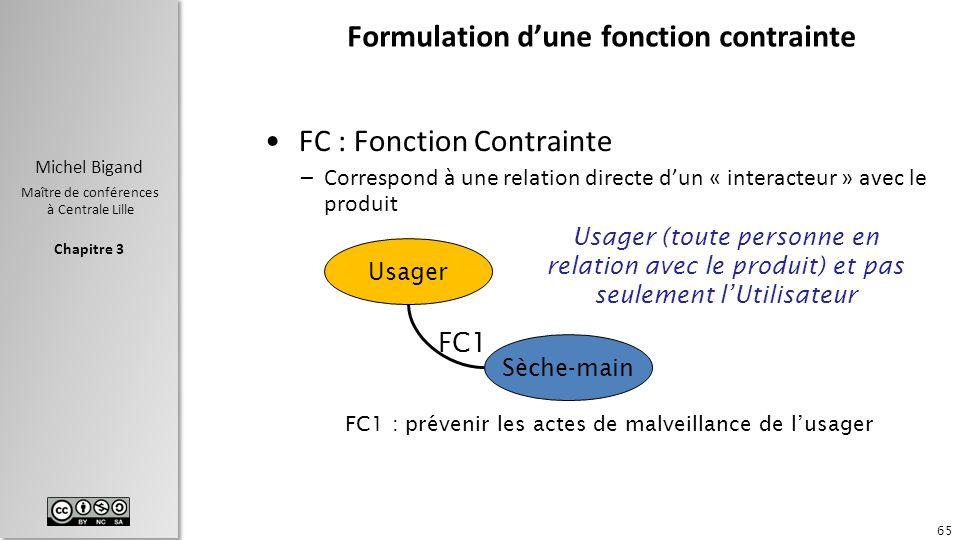 Chapitre 3 Michel Bigand Maître de conférences à Centrale Lille Formulation dune fonction contrainte FC : Fonction Contrainte –Correspond à une relati