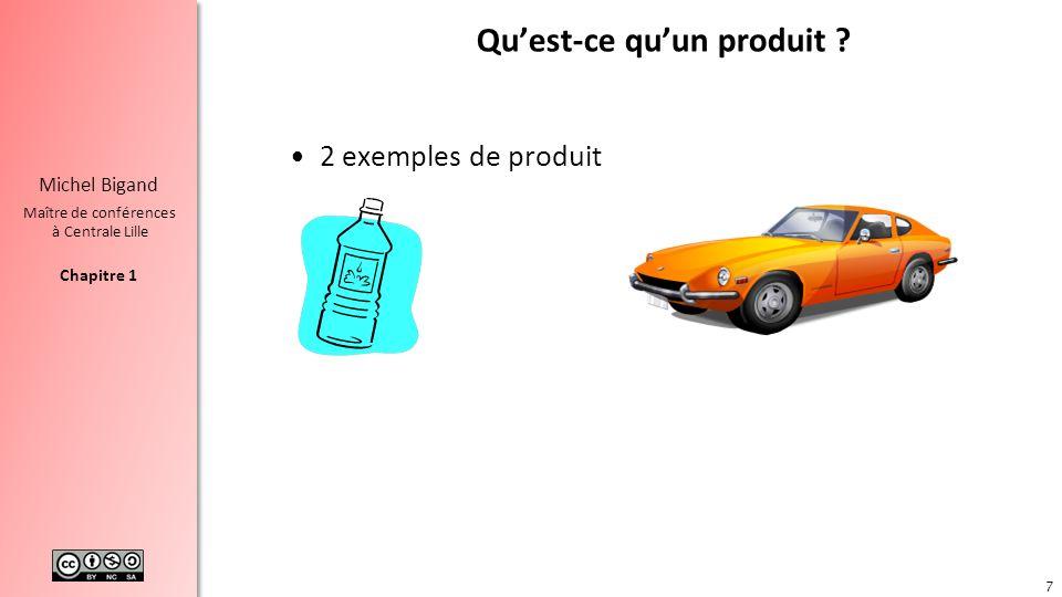 Chapitre 2 Michel Bigand Maître de conférences à Centrale Lille Pas de bon produit sans besoin bien identifié Produit : cest ce qui est fourni à un utilisateur pour répondre à un besoin (norme NF X50-150) Pour faire un bon produit, il faut avoir identifié le vrai besoin 28