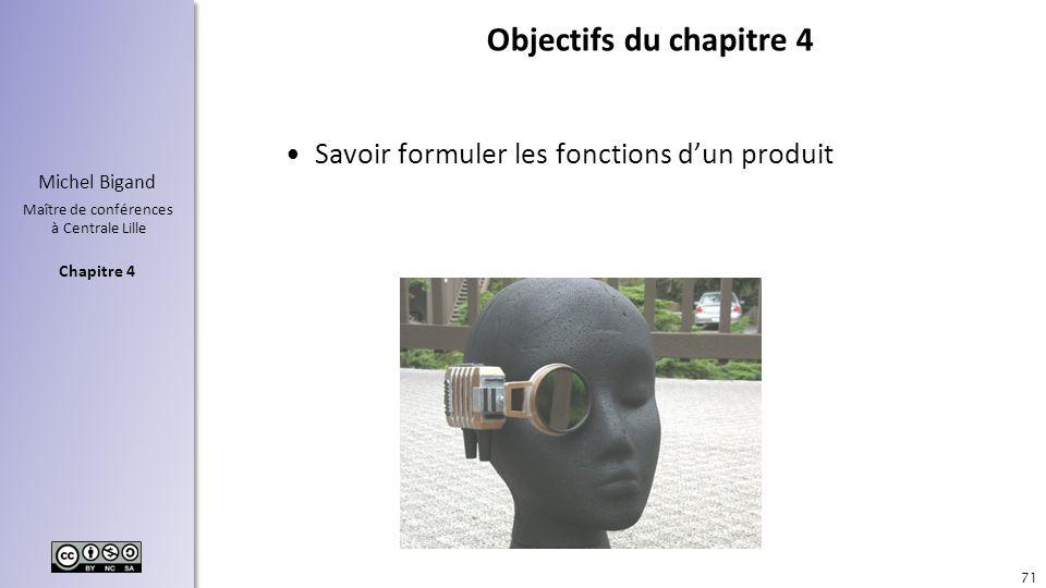 Chapitre 4 Michel Bigand Maître de conférences à Centrale Lille Objectifs du chapitre 4 Savoir formuler les fonctions dun produit 71