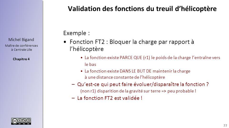 Chapitre 4 Michel Bigand Maître de conférences à Centrale Lille Validation des fonctions du treuil dhélicoptère Exemple : Fonction FT2 : Bloquer la ch