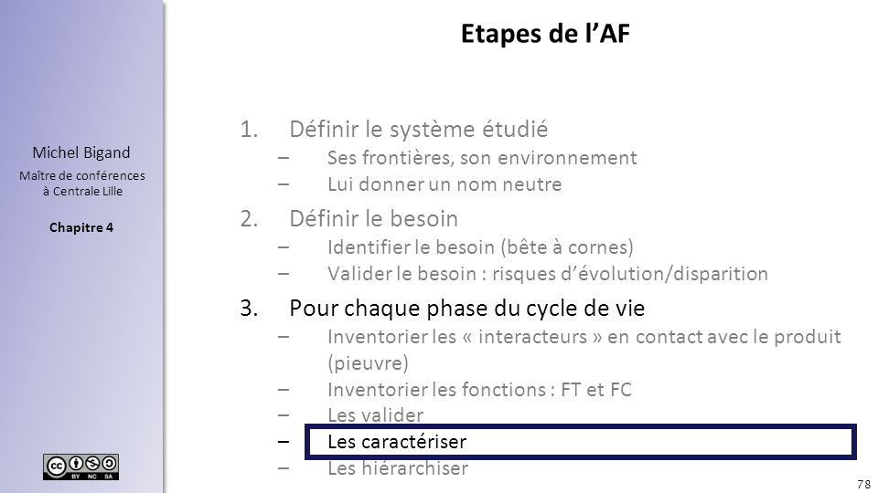 Chapitre 4 Michel Bigand Maître de conférences à Centrale Lille Etapes de lAF 1.Définir le système étudié –Ses frontières, son environnement –Lui donn