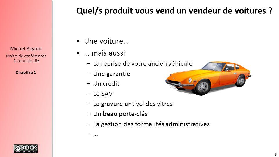 Chapitre 1 Michel Bigand Maître de conférences à Centrale Lille Quel/s produit vous vend un vendeur de voitures ? Une voiture… … mais aussi –La repris