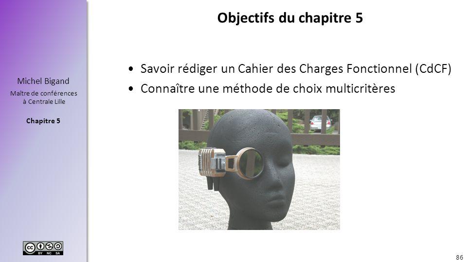 Chapitre 5 Michel Bigand Maître de conférences à Centrale Lille Objectifs du chapitre 5 Savoir rédiger un Cahier des Charges Fonctionnel (CdCF) Connaî