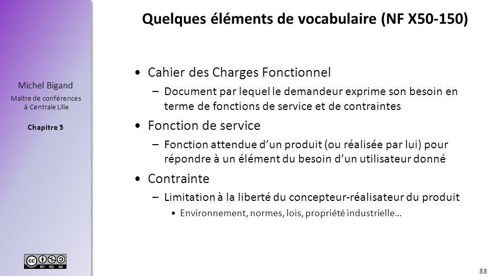Chapitre 5 Michel Bigand Maître de conférences à Centrale Lille Quelques éléments de vocabulaire (NF X50-150) Cahier des Charges Fonctionnel –Document