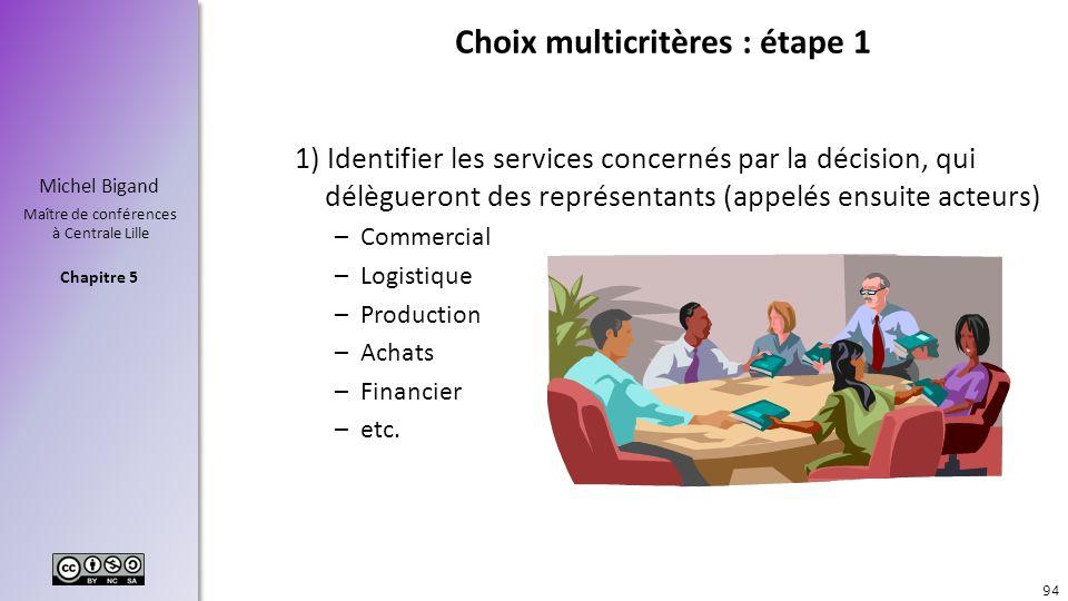 Chapitre 5 Michel Bigand Maître de conférences à Centrale Lille Choix multicritères : étape 1 1) Identifier les services concernés par la décision, qu