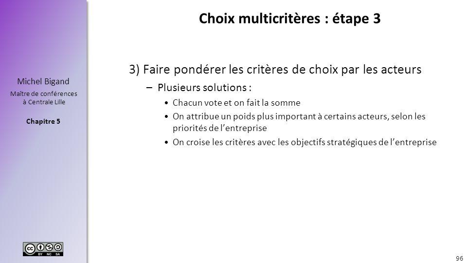 Chapitre 5 Michel Bigand Maître de conférences à Centrale Lille Choix multicritères : étape 3 3) Faire pondérer les critères de choix par les acteurs