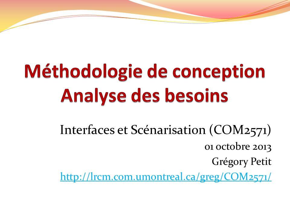Interfaces et Scénarisation (COM2571) 01 octobre 2013 Grégory Petit http://lrcm.com.umontreal.ca/greg/COM2571/