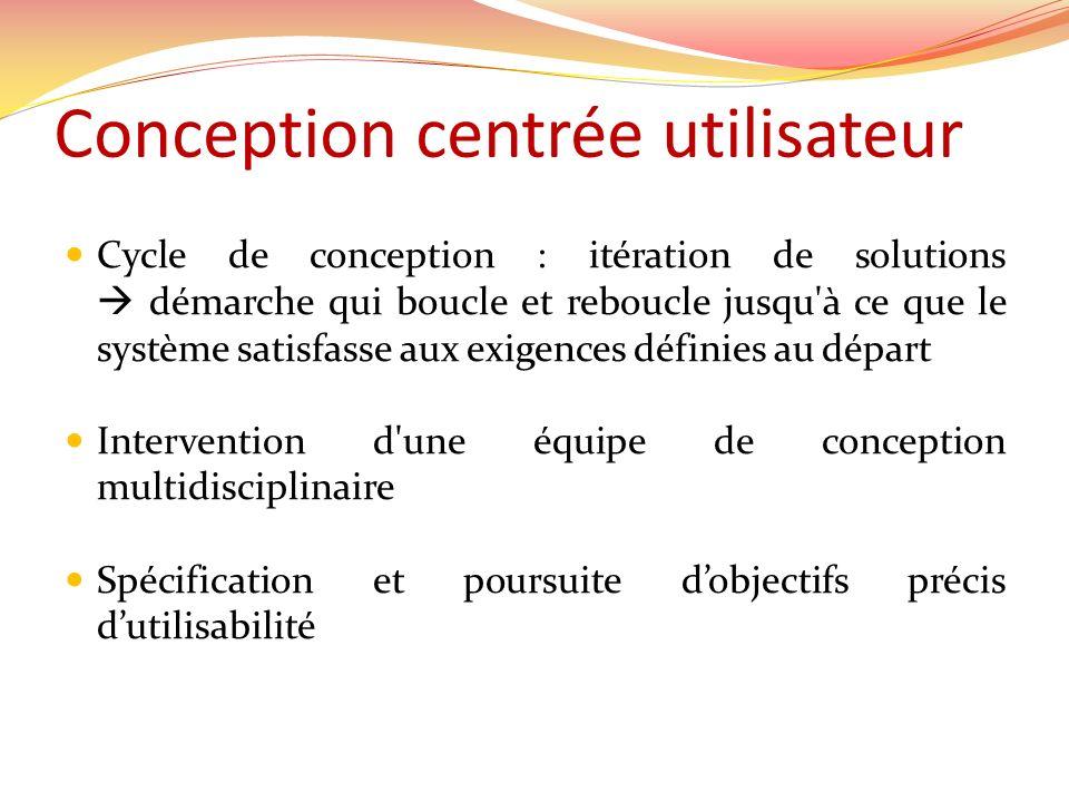 Conception centrée utilisateur Cycle de conception : itération de solutions démarche qui boucle et reboucle jusqu'à ce que le système satisfasse aux e