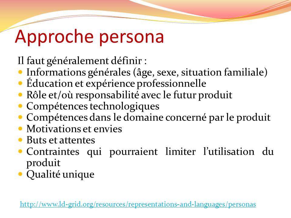 Approche persona Il faut généralement définir : Informations générales (âge, sexe, situation familiale) Éducation et expérience professionnelle Rôle e