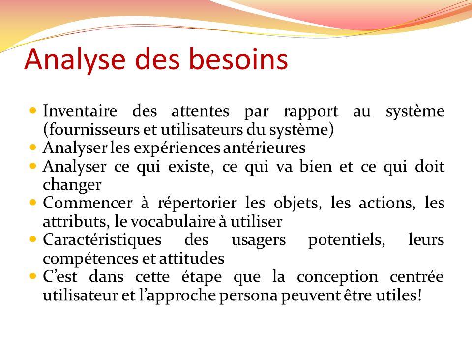 Inventaire des attentes par rapport au système (fournisseurs et utilisateurs du système) Analyser les expériences antérieures Analyser ce qui existe,