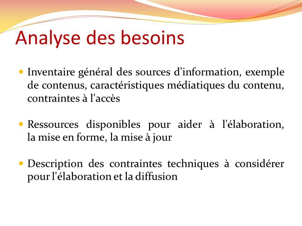 Analyse des besoins Inventaire général des sources d'information, exemple de contenus, caractéristiques médiatiques du contenu, contraintes à l'accès