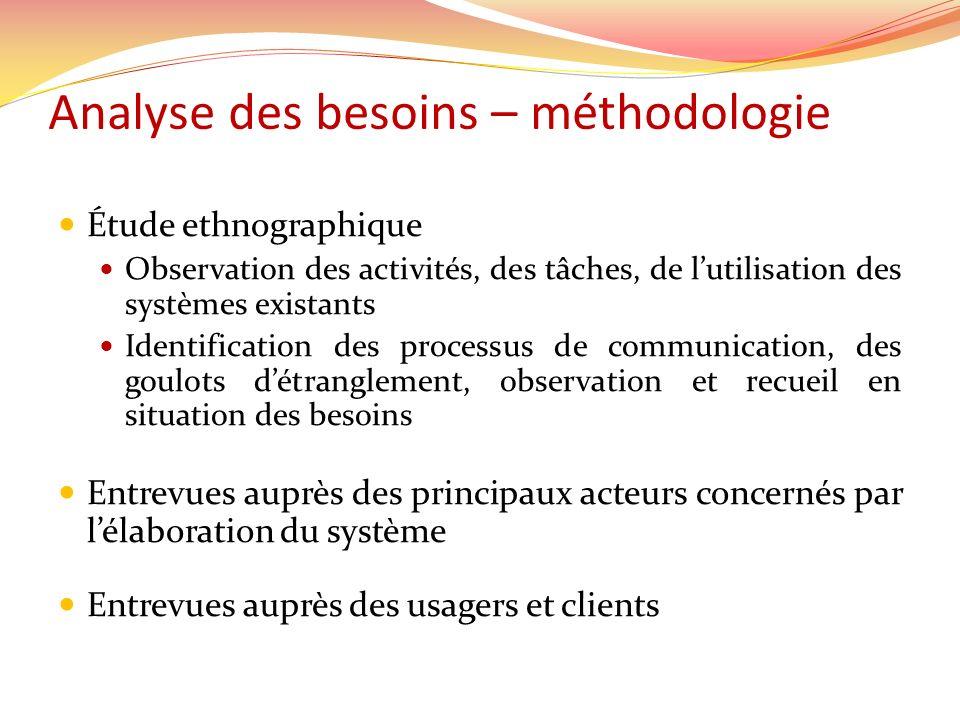 Analyse des besoins – méthodologie Étude ethnographique Observation des activités, des tâches, de lutilisation des systèmes existants Identification d