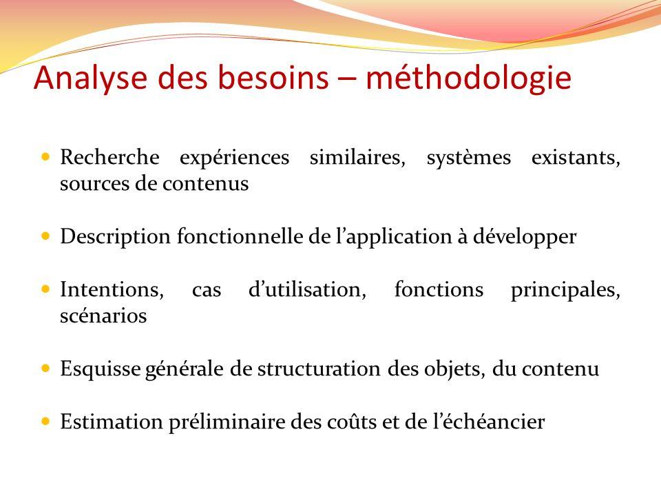 Analyse des besoins – méthodologie Recherche expériences similaires, systèmes existants, sources de contenus Description fonctionnelle de lapplication