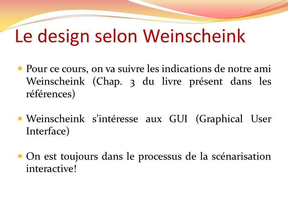 Le design selon Weinscheink Pour ce cours, on va suivre les indications de notre ami Weinscheink (Chap. 3 du livre présent dans les références) Weinsc