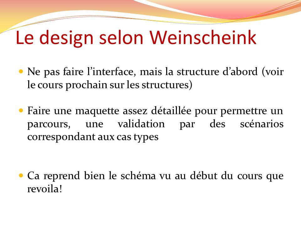 Le design selon Weinscheink Ne pas faire linterface, mais la structure dabord (voir le cours prochain sur les structures) Faire une maquette assez dét