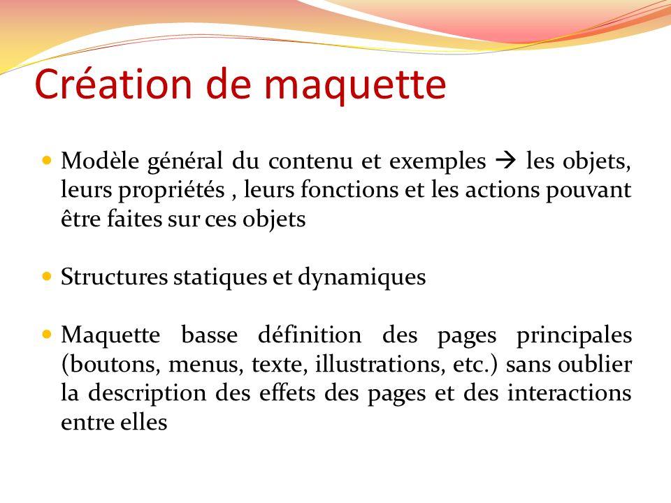 Création de maquette Modèle général du contenu et exemples les objets, leurs propriétés, leurs fonctions et les actions pouvant être faites sur ces ob