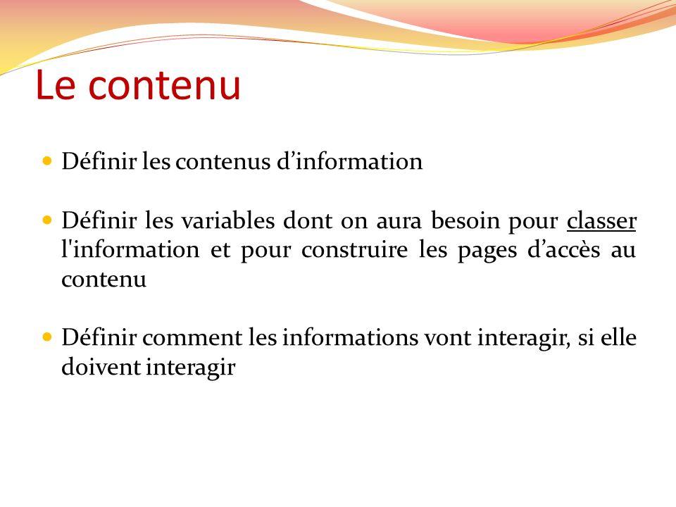 Le contenu Définir les contenus dinformation Définir les variables dont on aura besoin pour classer l'information et pour construire les pages daccès