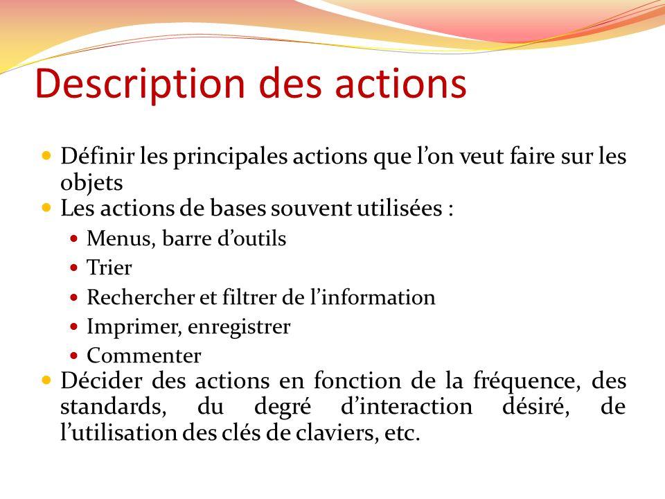 Description des actions Définir les principales actions que lon veut faire sur les objets Les actions de bases souvent utilisées : Menus, barre doutil