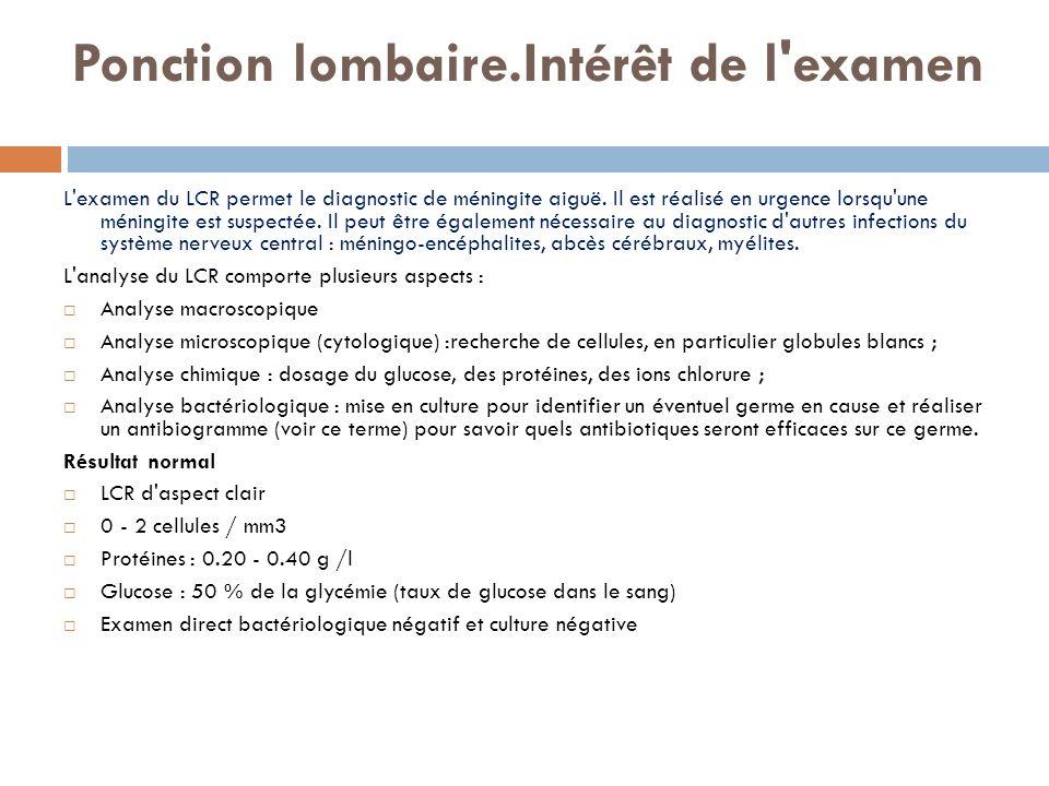 Ponction lombaire.Intérêt de l'examen L'examen du LCR permet le diagnostic de méningite aiguë. Il est réalisé en urgence lorsqu'une méningite est susp