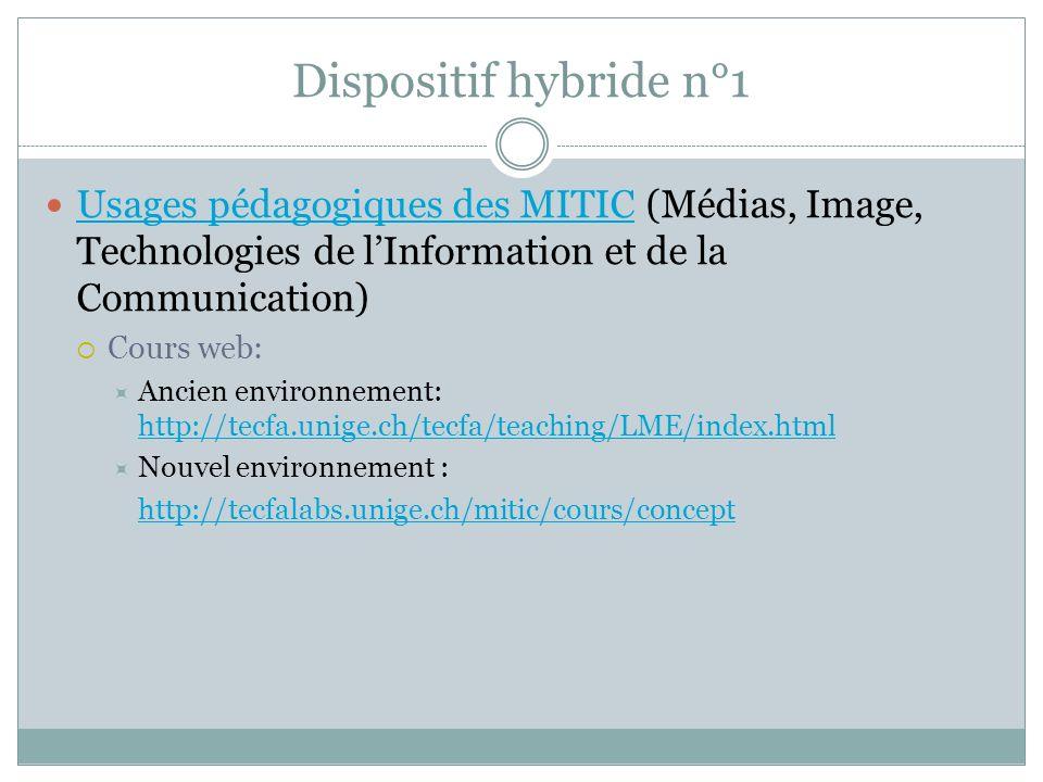 Dispositif hybride n°1 Usages pédagogiques des MITIC (Médias, Image, Technologies de lInformation et de la Communication) Usages pédagogiques des MITIC Cours web: Ancien environnement: http://tecfa.unige.ch/tecfa/teaching/LME/index.html http://tecfa.unige.ch/tecfa/teaching/LME/index.html Nouvel environnement : http://tecfalabs.unige.ch/mitic/cours/concept