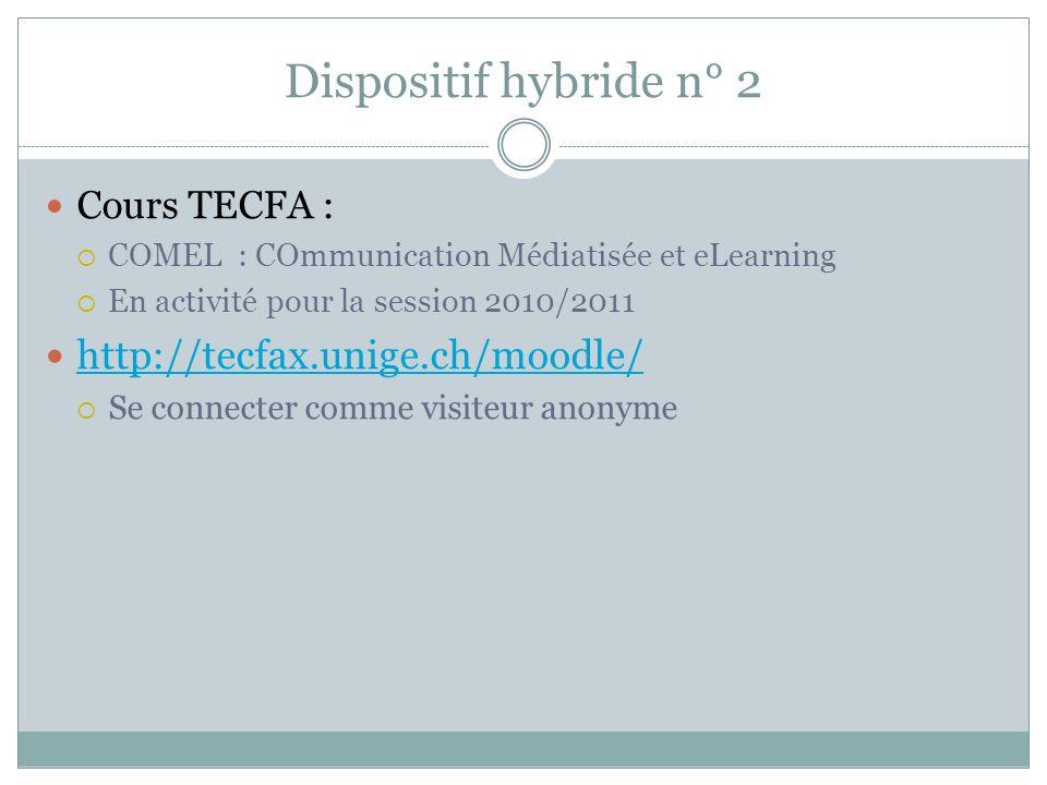 Dispositif hybride n° 2 Cours TECFA : COMEL : COmmunication Médiatisée et eLearning En activité pour la session 2010/2011 http://tecfax.unige.ch/moodle/ Se connecter comme visiteur anonyme