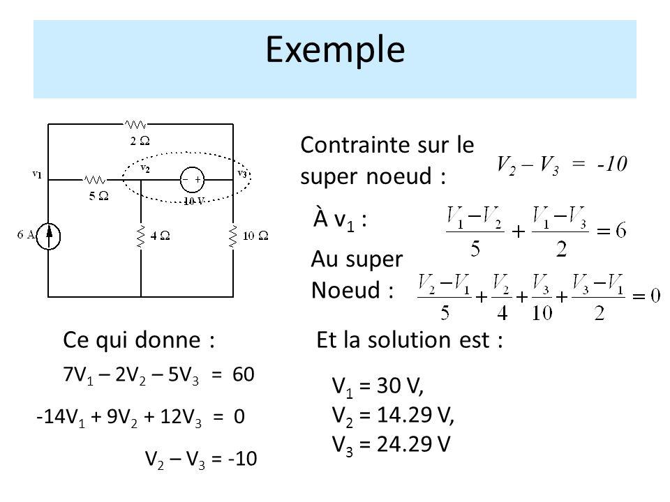 À v 1 : Au super Noeud : Contrainte sur le super noeud : V 2 – V 3 = -10 Exemple 7V 1 – 2V 2 – 5V 3 = 60 -14V 1 + 9V 2 + 12V 3 = 0 V 2 – V 3 = -10 Et la solution est :Ce qui donne : V 1 = 30 V, V 2 = 14.29 V, V 3 = 24.29 V