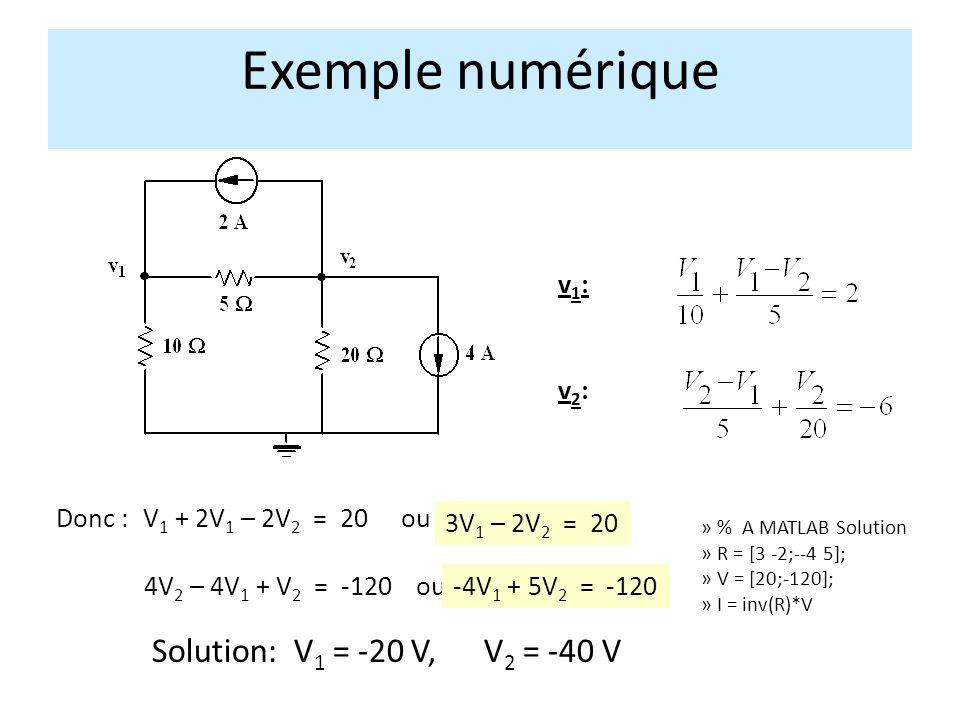 v1:v1: v2:v2: Exemple numérique V 1 + 2V 1 – 2V 2 = 20Donc : 3V 1 – 2V 2 = 20 4V 2 – 4V 1 + V 2 = -120ou-4V 1 + 5V 2 = -120 Solution: V 1 = -20 V, V 2 = -40 V ou » % A MATLAB Solution » R = [3 -2;--4 5]; » V = [20;-120]; » I = inv(R)*V