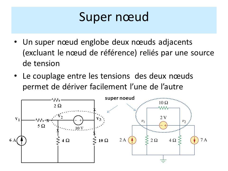 Un super nœud englobe deux nœuds adjacents (excluant le nœud de référence) reliés par une source de tension Le couplage entre les tensions des deux nœuds permet de dériver facilement lune de lautre Super nœud super noeud