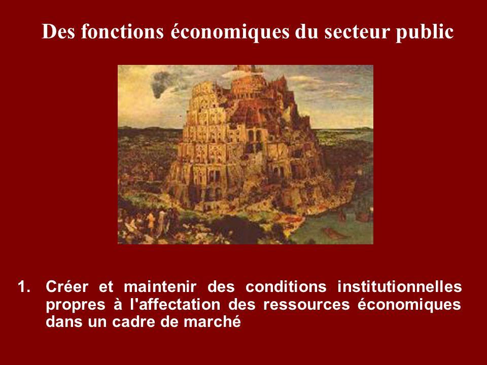 Des fonctions économiques du secteur public 1. Créer et maintenir des conditions institutionnelles propres à l'affectation des ressources économiques