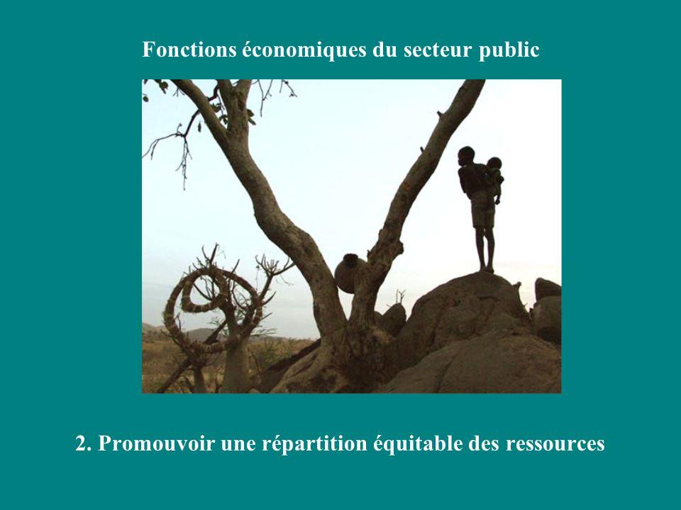 Fonctions économiques du secteur public 2. Promouvoir une répartition équitable des ressources