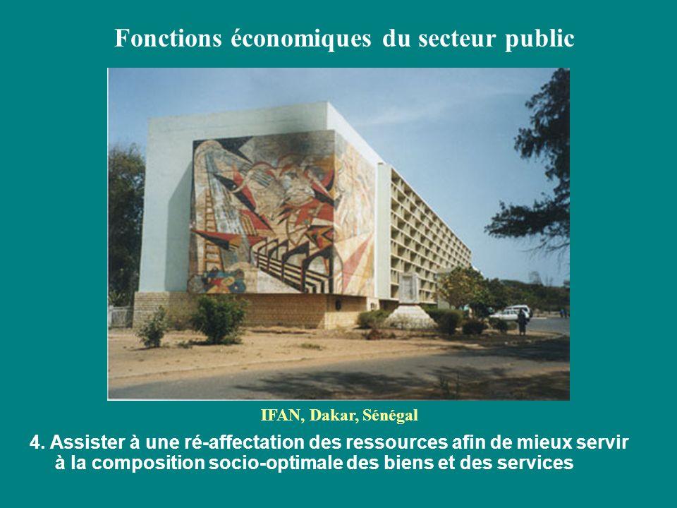 Fonctions économiques du secteur public 4. Assister à une ré-affectation des ressources afin de mieux servir à la composition socio-optimale des biens