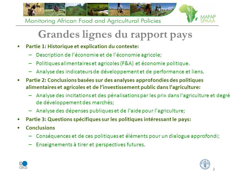 2 Partie 1: Historique et explication du contexte: –Description de léconomie et de léconomie agricole; –Politiques alimentaires et agricoles (F&A) et économie politique.